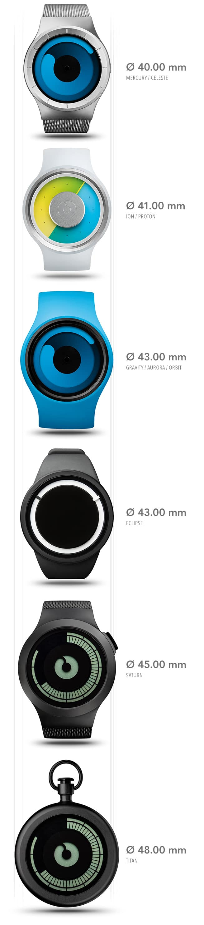 ZIIIRO Watch Sizes Casing