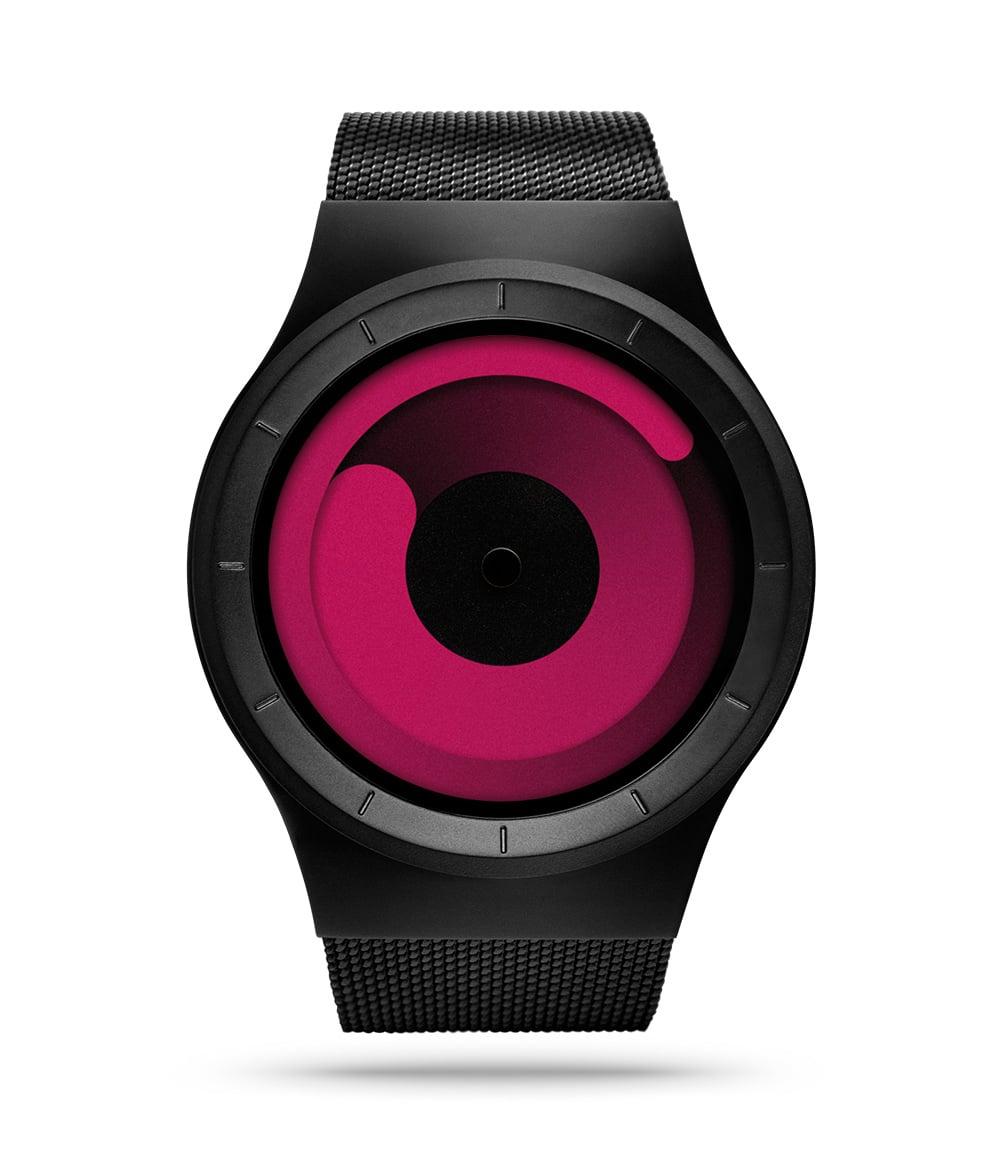 ZIIIRO Mercury Black Magenta Watch Front