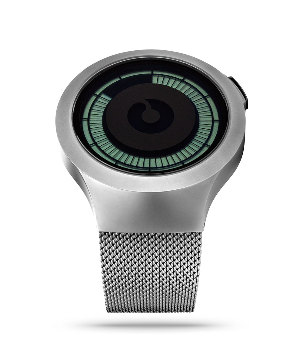 The Saturn Chrome Digital Watch in Perspective Angle.