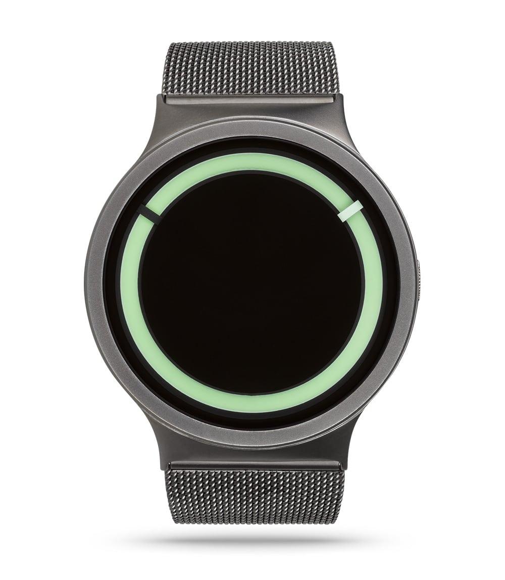 ZIIIRO Eclipse Metallic Gunmetal Mint Watch Front