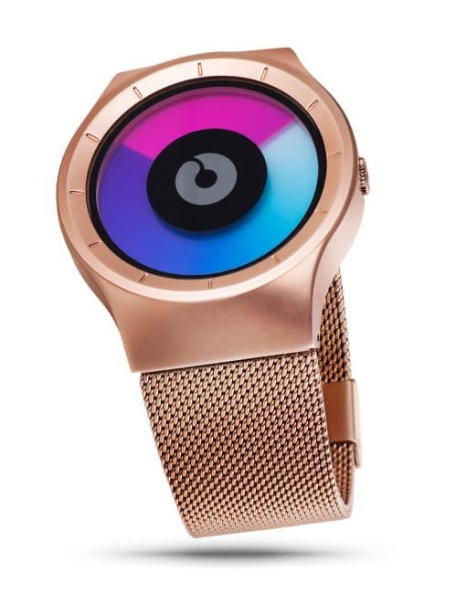 ZIIIRO Celeste rose gold purple watch (up front angle)