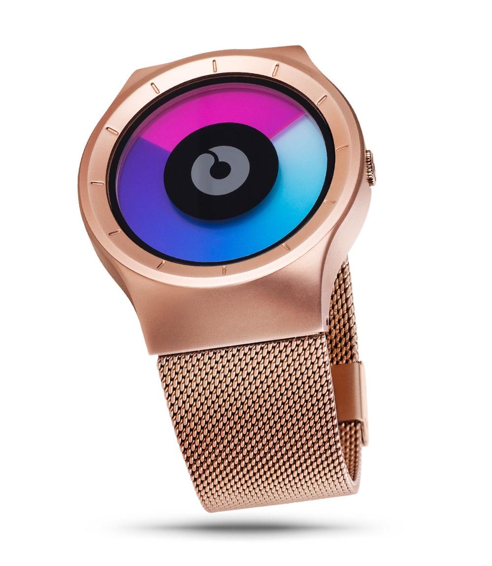 ZIIIRO Celeste rose gold purple watch (up front angle)