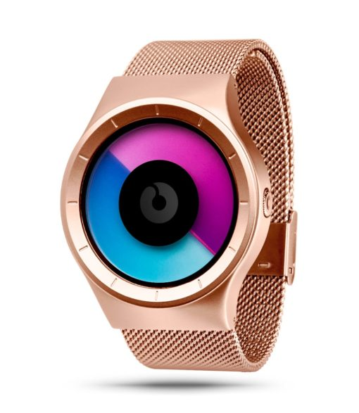 ZIIIRO Celeste rose gold purple watch (perspective angle)