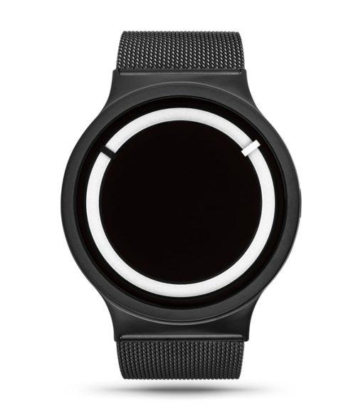 ZIIIRO Eclipse Steel Black White Watch Front