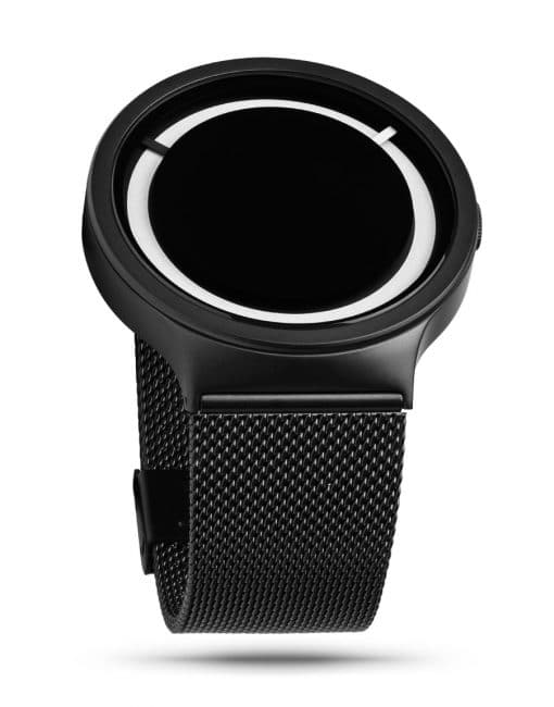 ZIIIRO Eclipse Steel Black White Watch (perspective view)