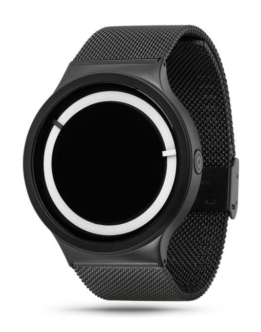 ZIIIRO Eclipse Steel Black White Watch (diagonal view)
