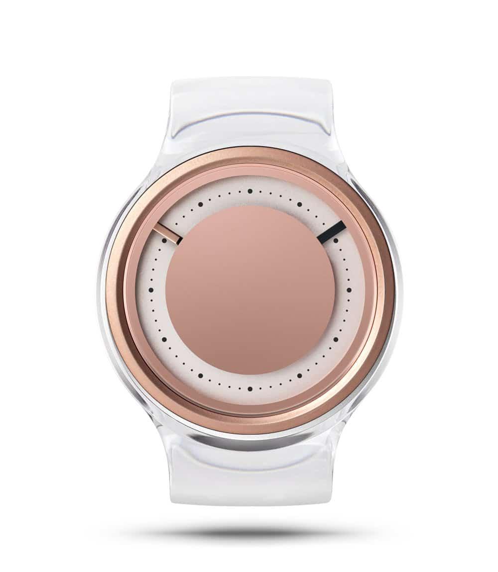 ZIIIRO Eon Transparent Clear Rose Gold Watch Front Interchangeable