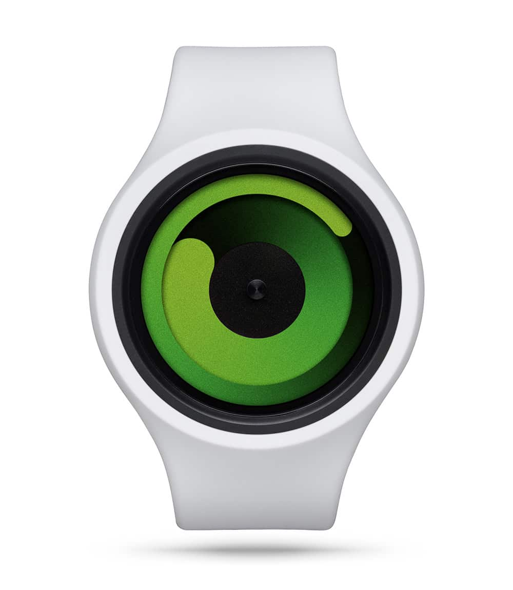 ZIIIRO Gravity Plus+ (Snow White & Green) Interchangeable Watch - front view