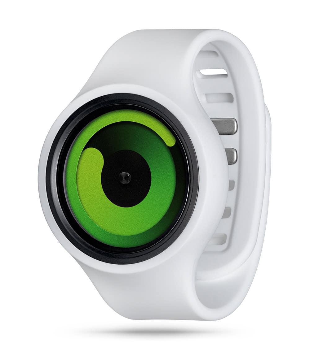 ZIIIRO Gravity Plus+ (Snow White & Green) Interchangeable Watch - diagonal view