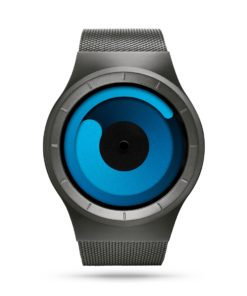 ZIIIRO Mercury (Gunmetal & Ocean Blue) Stainless Steel Watch - front view
