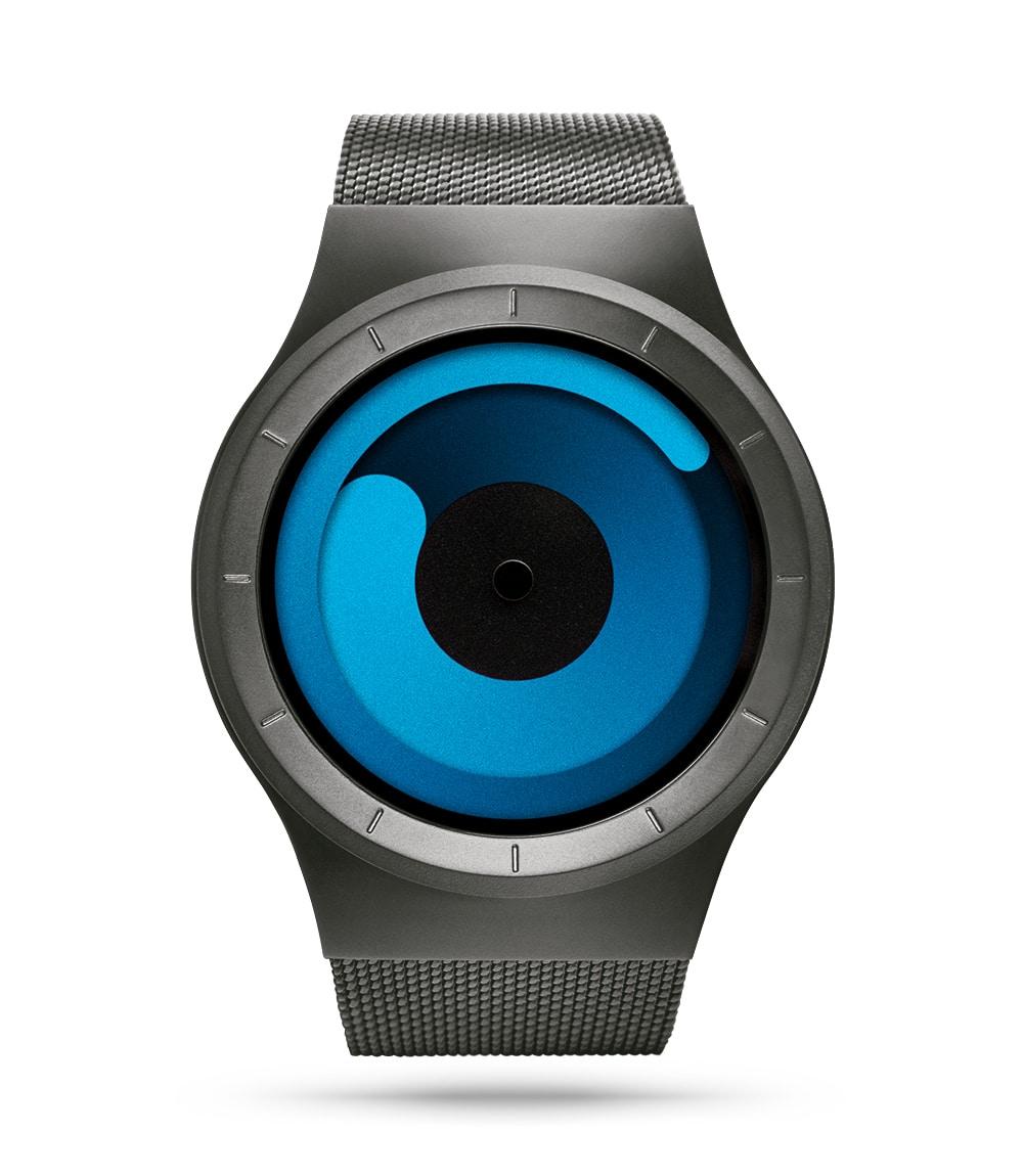 ZIIIRO Mercury (Gunmetal & Ocean Blue) Stainless Steel Watch - front view