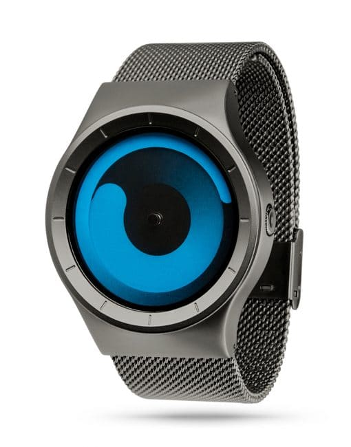 ZIIIRO Mercury (Gunmetal & Ocean Blue) Stainless Steel Watch - diagonal view