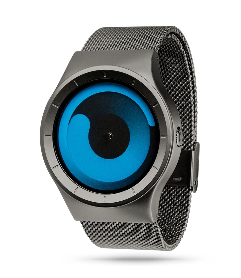 ZIIIRO Mercury (Gunmetal & Ocean Blue) Stainless Steel Watch - diagonal view
