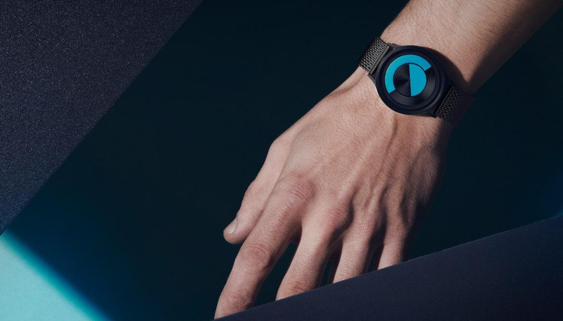 ZIIIRO Lunar (Gunmetal & Ocean Blue) Stainless Steel Watch - Banner