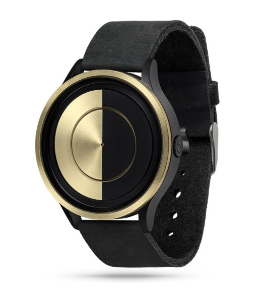 ZIIIRO Lunar (Black & Gold) Stainless Steel Watch - diagonal view