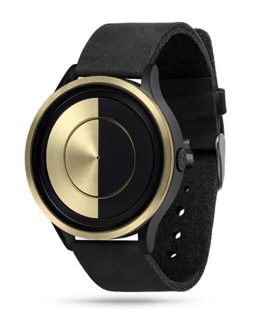 ZIIIRO Lunar (Black & Gold) Stainless Steel Watch - diagonal view