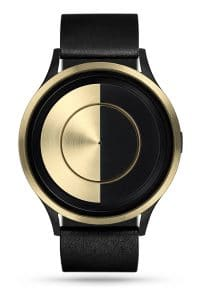 ZIIIRO Lunar (Black & Gold) Stainless Steel Watch - front view