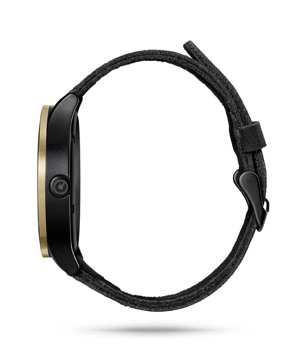 ZIIIRO Lunar (Black & Gold) Stainless Steel Watch - side view