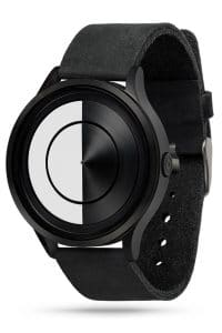 ZIIIRO Lunar (Black & White) Stainless Steel Watch - diagonal view
