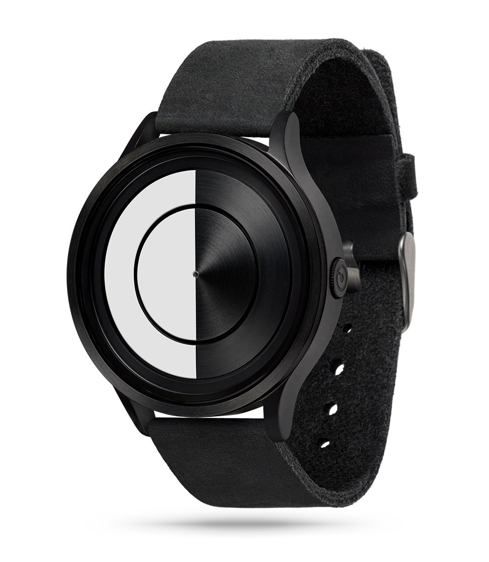 ZIIIRO Lunar (Black & White) Stainless Steel Watch - diagonal view