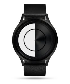 ZIIIRO Lunar (Black & White) Stainless Steel Watch - front view