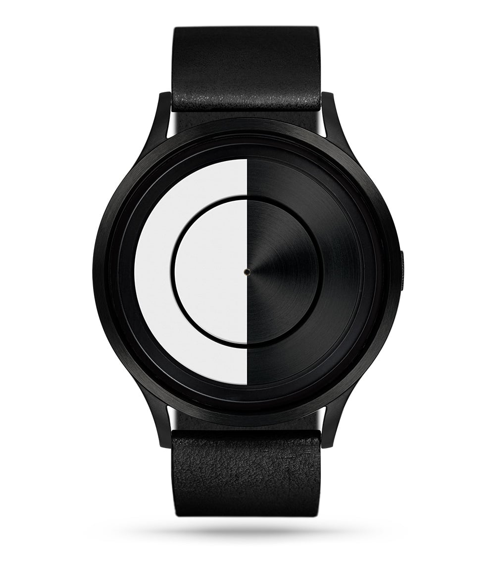 9443d7fdf1a9 ZIIIRO Lunar (Black   White) Stainless Steel Watch - front view
