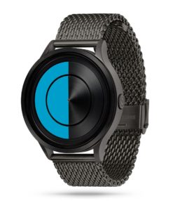 ZIIIRO Lunar (Gunmetal & Ocean Blue) Stainless Steel Watch - diagonal view
