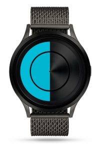 ZIIIRO Lunar (Gunmetal & Ocean Blue) Stainless Steel Watch - front view