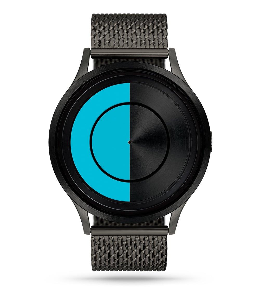 ZIIIRO Lunar (Gunmetal & Ocean Blue) Stainless Steel Watch - front view