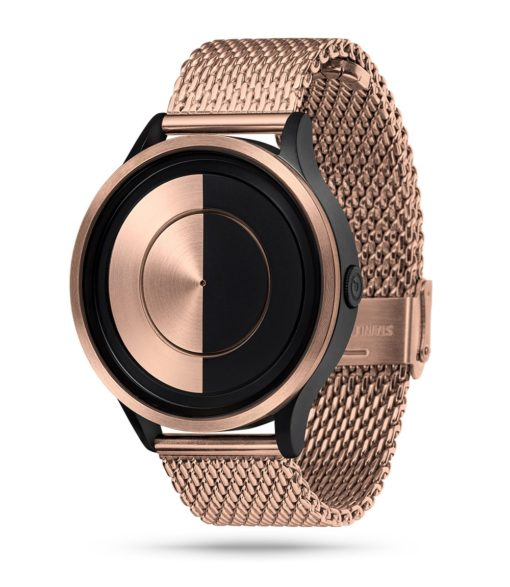 ZIIIRO Lunar (Rose Gold) Stainless Steel Watch - diagonal view