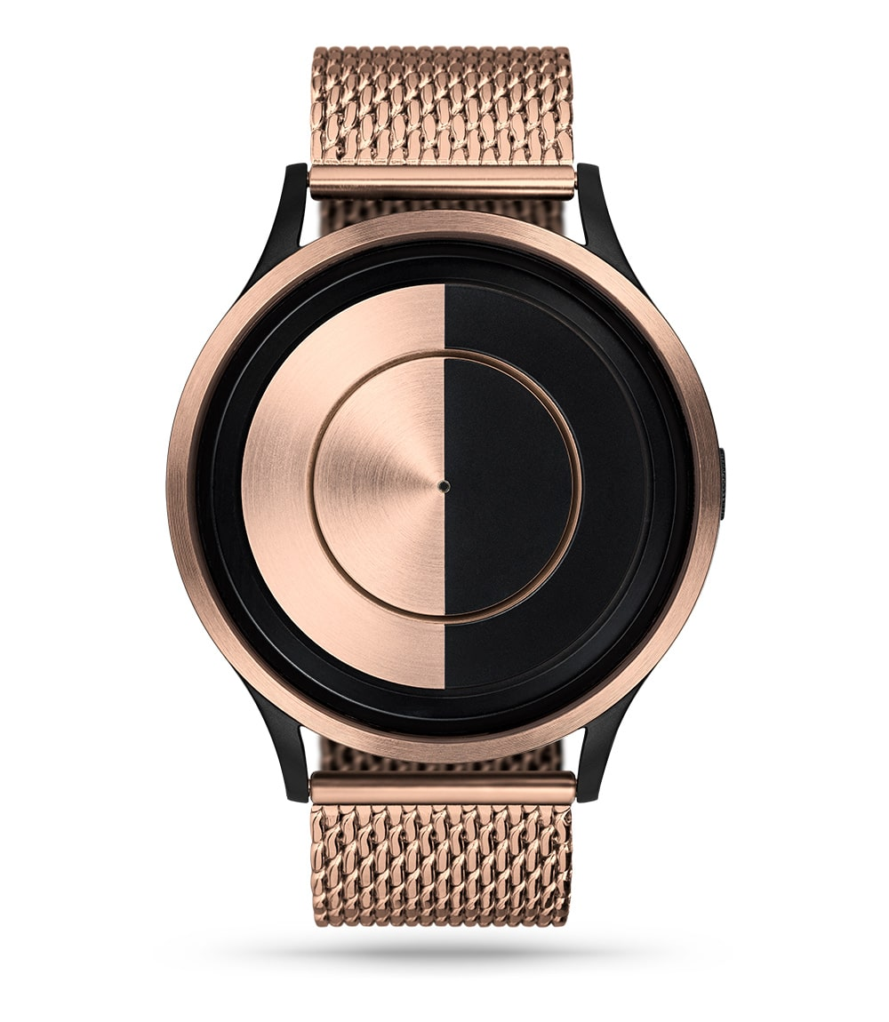 ZIIIRO Lunar (Rose Gold) Stainless Steel Watch - front view