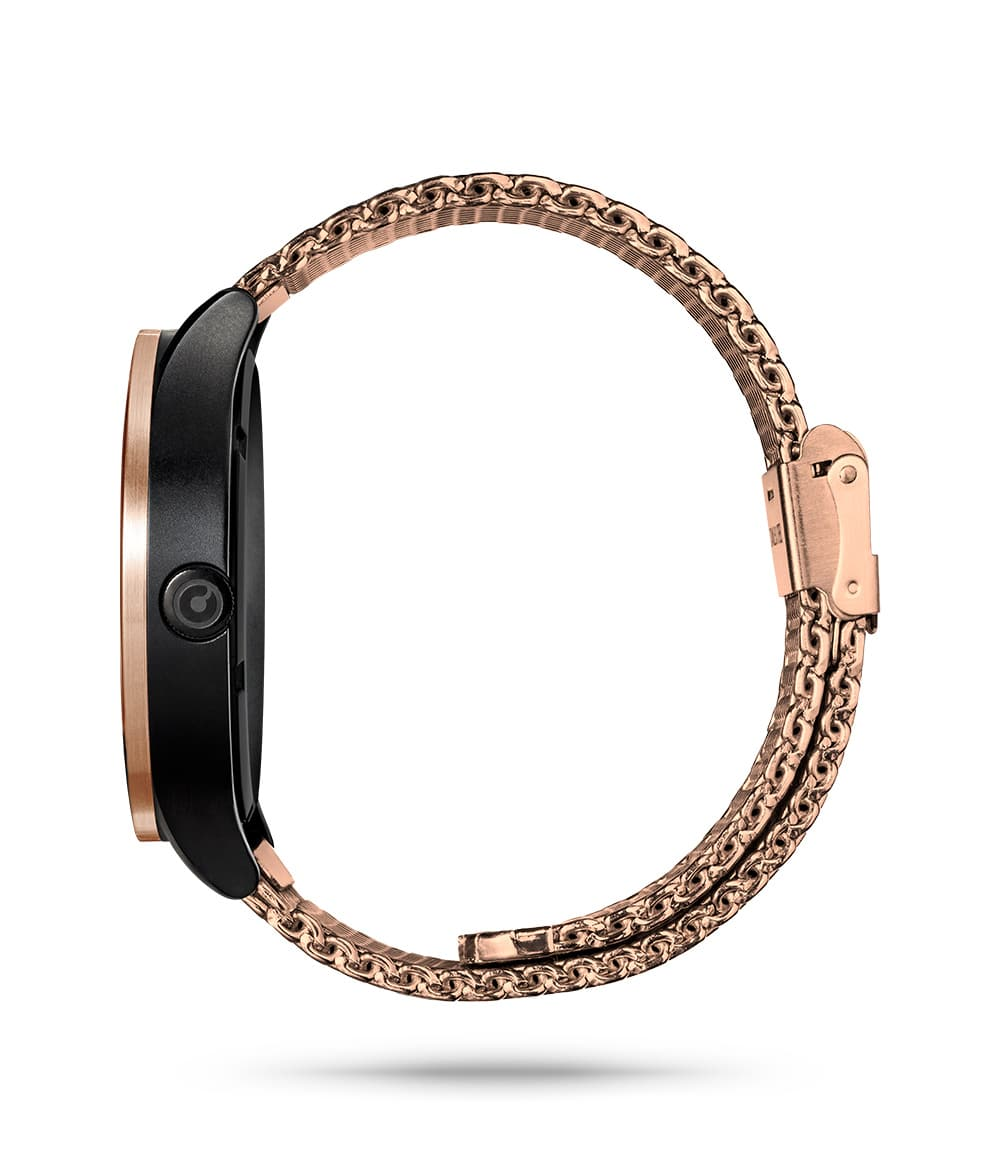 ZIIIRO Lunar (Rose Gold) Stainless Steel Watch - side view